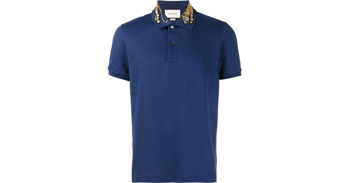 cecdd11f5391 Gucci Tiger Embroidered Polo Shirt in Blue for Men - Lyst