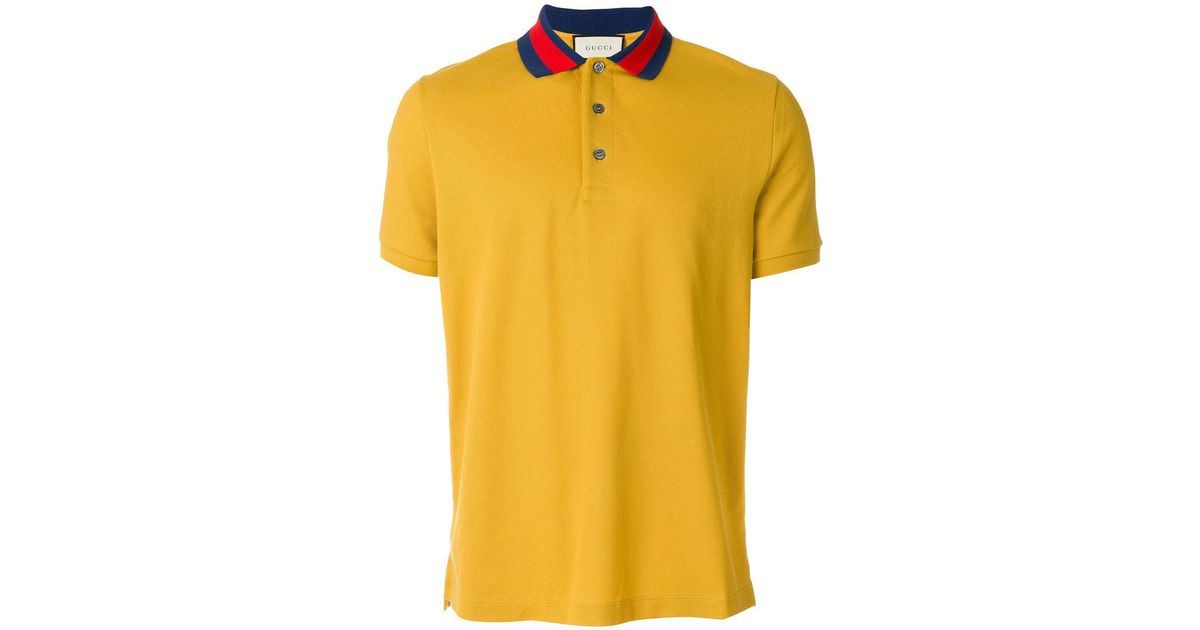 Lyst - Gucci Polo Shirt With Wolf Appliqué in Yellow for Men 735b19594cd4
