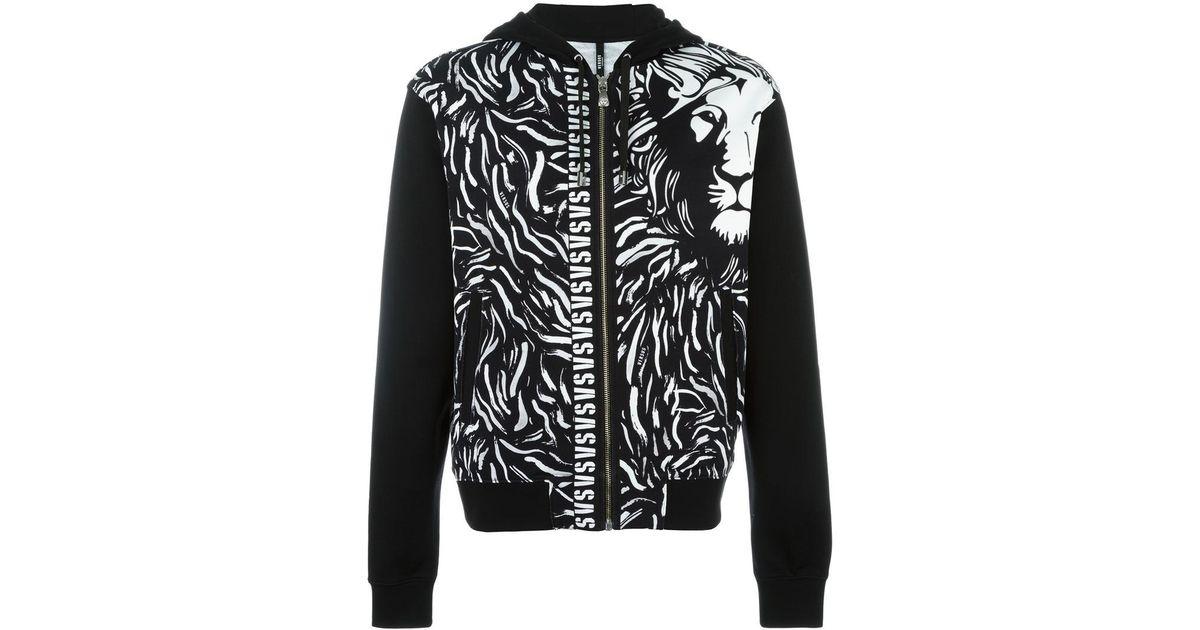 Versus Lion Print Hooded Cardigan in Black for Men   Lyst