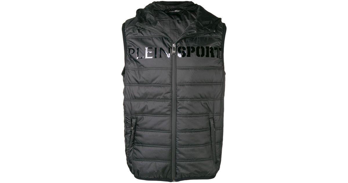 c0b764dfc639 Lyst - Philipp Plein Logo Print Puffer Vest in Black for Men