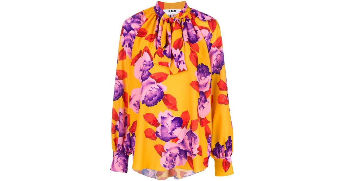 Msgm blusa corbata impreso cuello floral ww7Rqx0