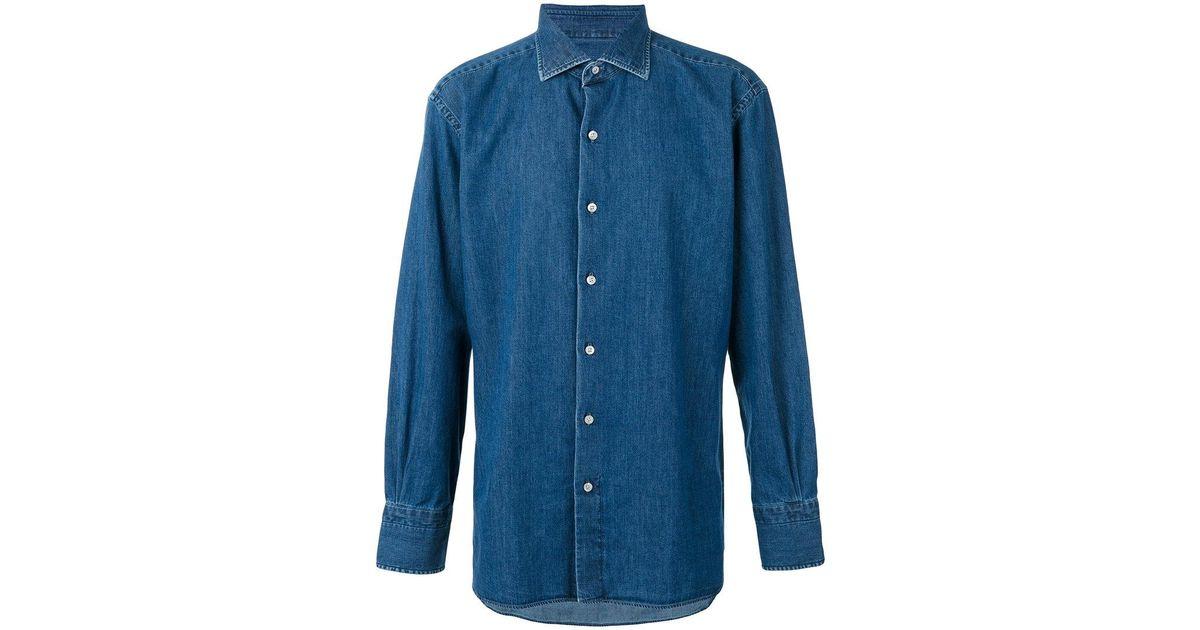 95b53136519 Lyst - Tom Ford Denim Shirt in Blue for Men