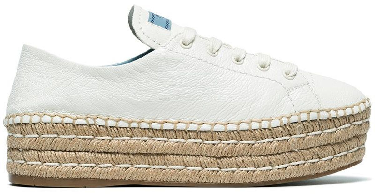 Prada 40 Leather flatform espadrilles