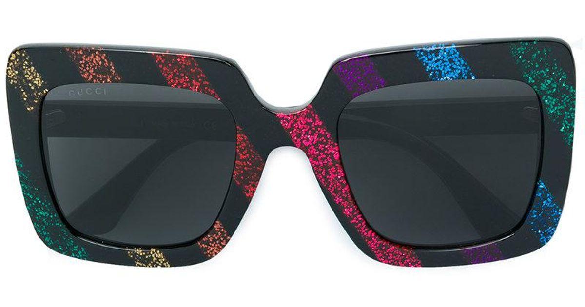 Lyst - Lunettes de soleil carrées à détails paillettés Gucci en coloris Noir 28c37c7498b9