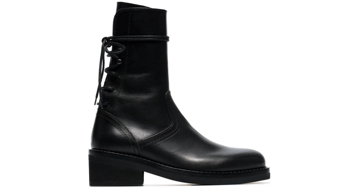 90990f0e65004 Ann Demeulemeester 50 Lace-up Leather Boots in Black - Lyst
