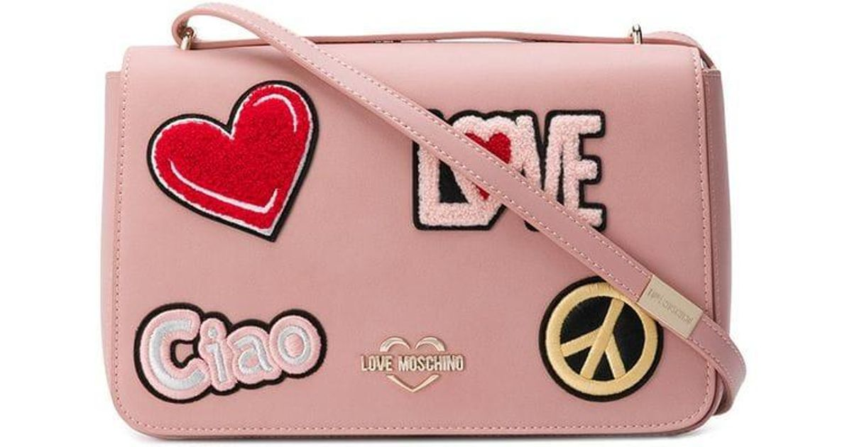 ac837038bc Lyst - Love Moschino Faux Leather Logo Bag in Pink