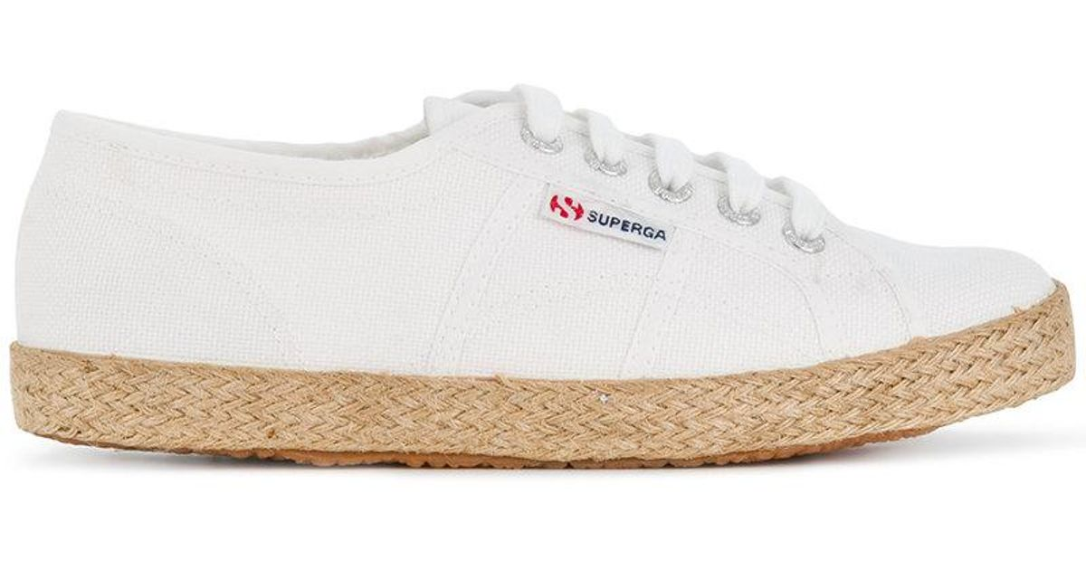 b9026796a6c Lyst - Superga Low Top Woven Sole Sneakers in White