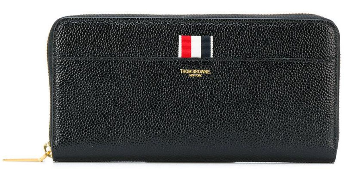 Long Zip Around Purse In Pebble Lucido Leather - Black Thom Browne 0fRITxD