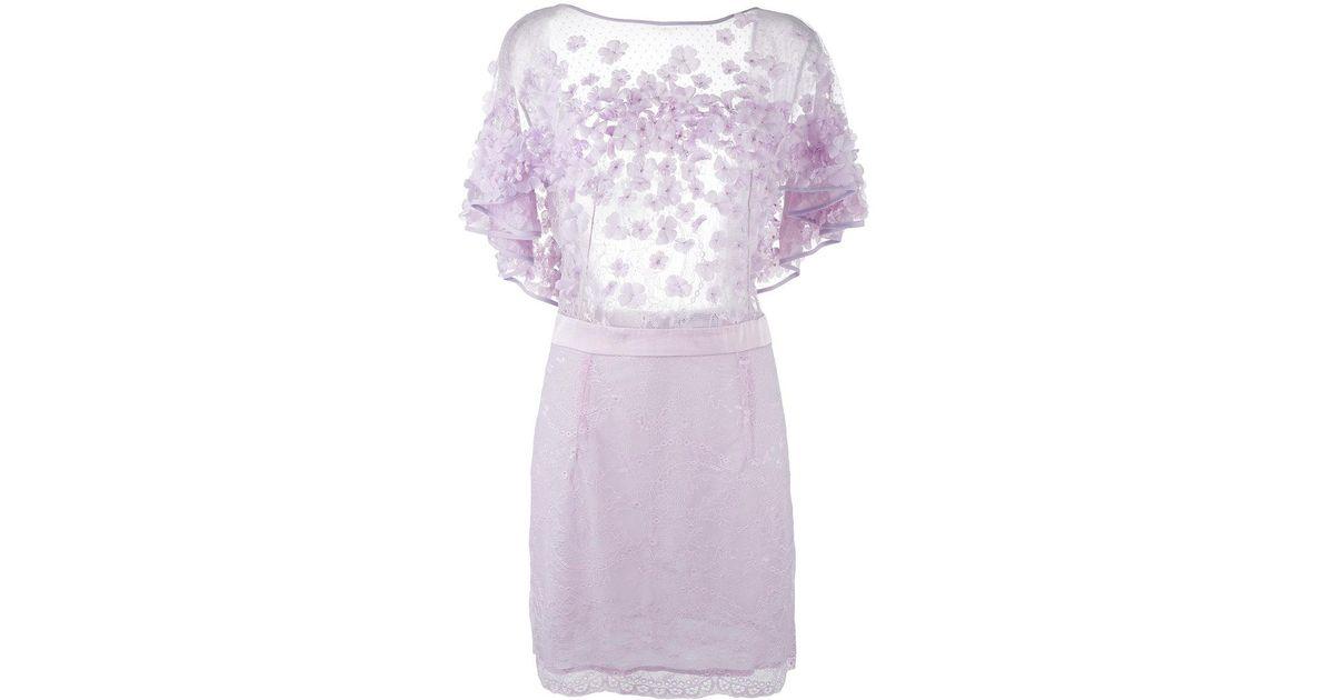 Lyst amen floral applique mini dress in purple