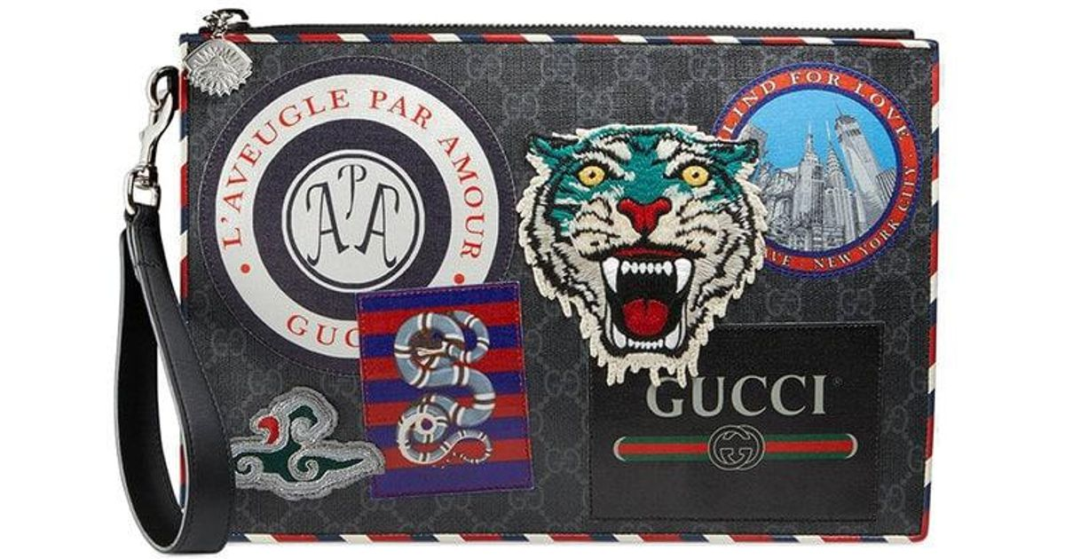 e157b031a9a Lyst - Gucci Night Courrier GG Supreme Pouch in Black for Men