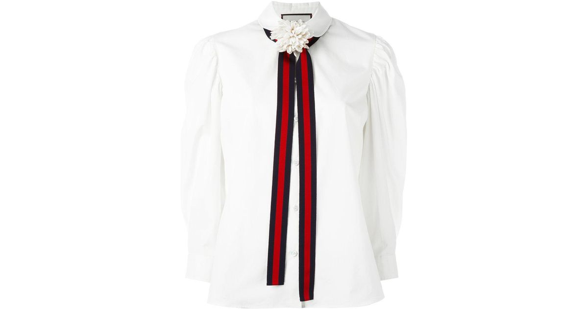 d138c7680c3b39 Lyst - Gucci Bow Detail Shirt in White