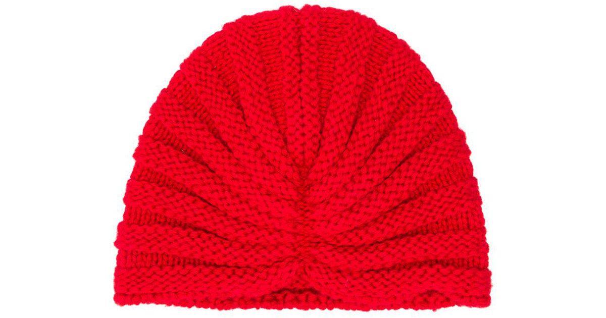 bd81a9da45b Lyst - P.A.R.O.S.H. Knitted Beanie in Red
