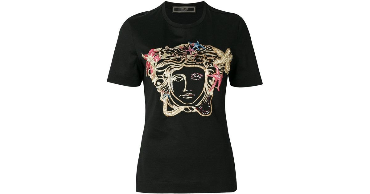 cbe6fc00f4f Lyst - Versace Medusa Embroidered T-shirt in Black