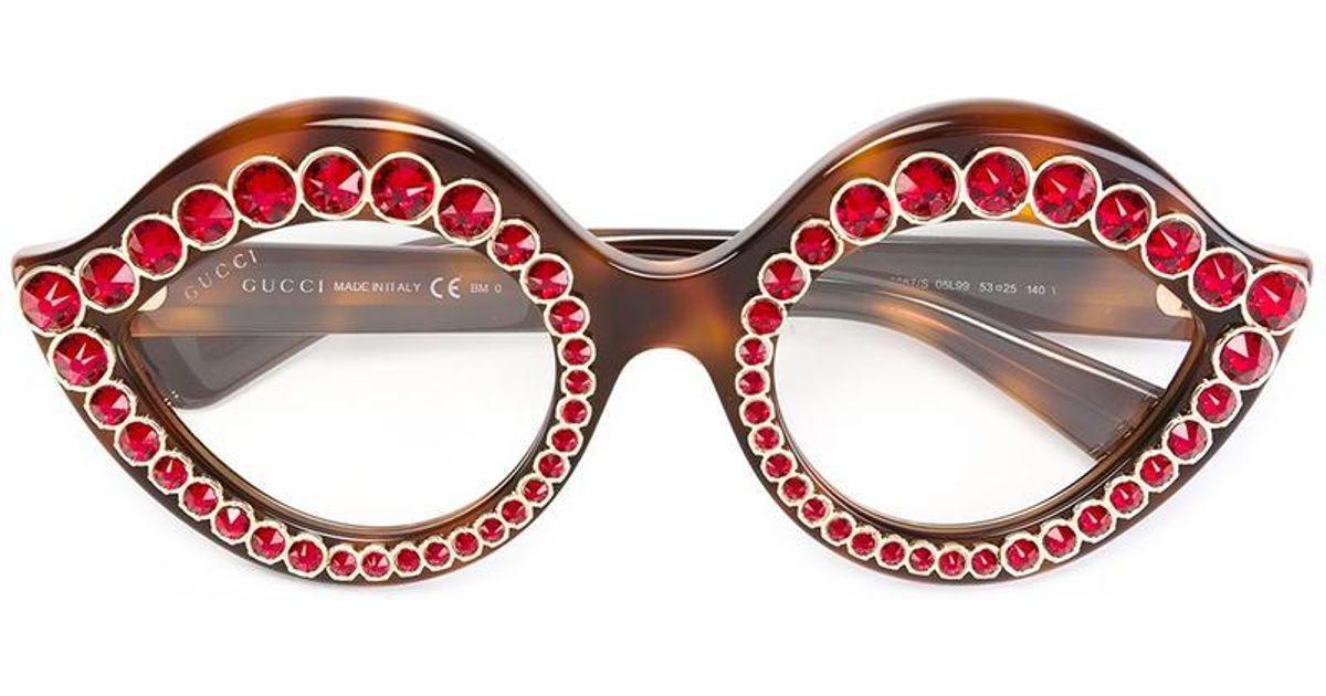 248186097ed Lyst - Gucci Swarovski Crystals Embellished Glasses in Brown