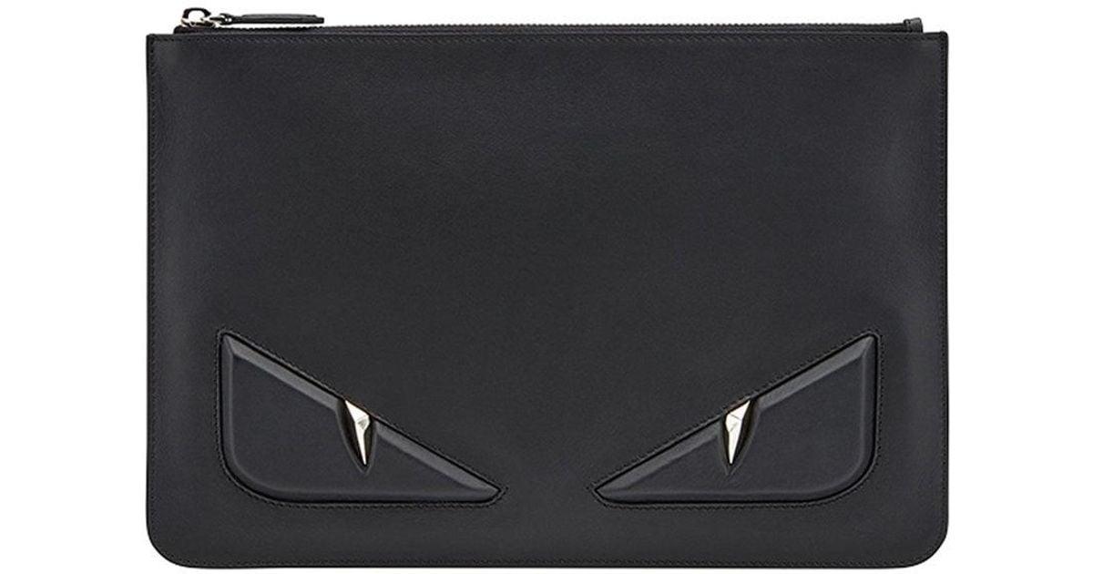Lyst - Fendi Eyes Zipped Pouch in Black for Men e2d7978bca69c