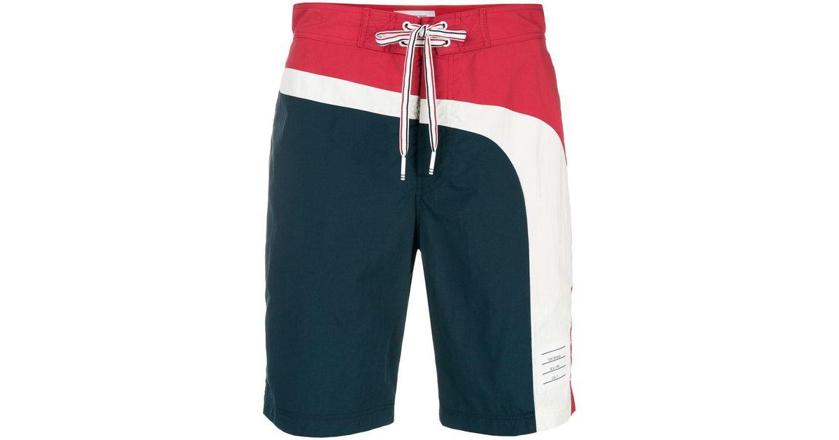 48c85a62e2 Thom Browne Seam Stripe Swim-tech Board Short in Blue for Men - Lyst