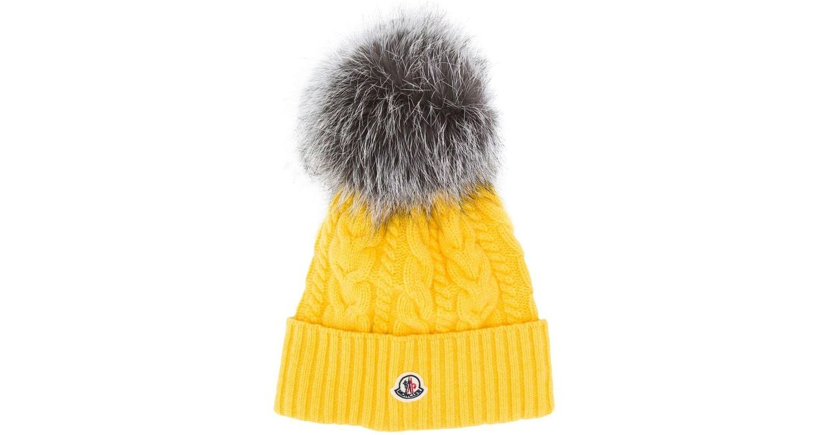 781d35778 Moncler - Yellow Cable Knit Bobble Hat - Lyst