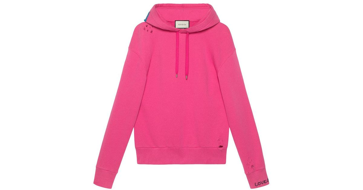Gucci Sweatshirt With Appliqué in Pink for Men - Lyst