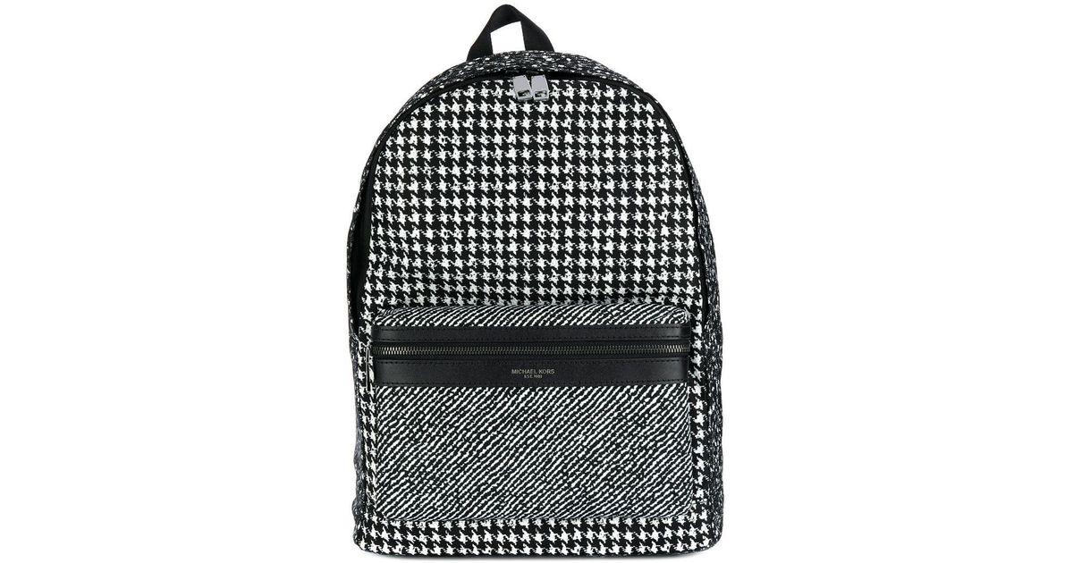 53a536c511a8 Lyst - Michael Kors Kent Houndstooth Nylon Backpack in Black for Men