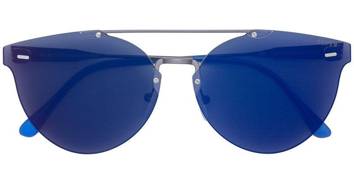 f00294ba09 Lyst - Retrosuperfuture Tinted Bar Frameless Sunglasses in Blue