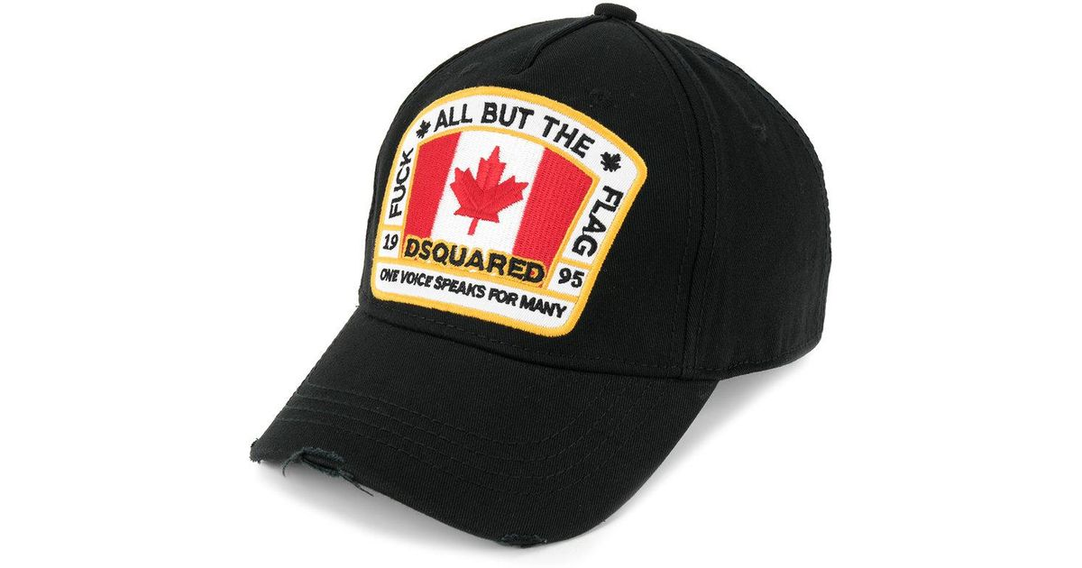 DSquared² Canadian Flag Patch Baseball Cap in Black for Men - Lyst ff3b4bb5afc