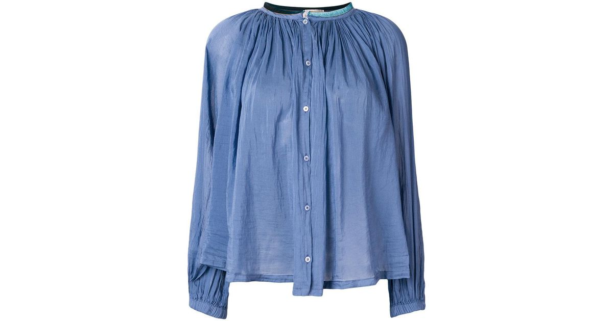 Under Sale Online flared button blouse - Blue Forte_Forte Outlet Pay With Visa Wiki Cheap Price Discount Official Clearance View wXlc1