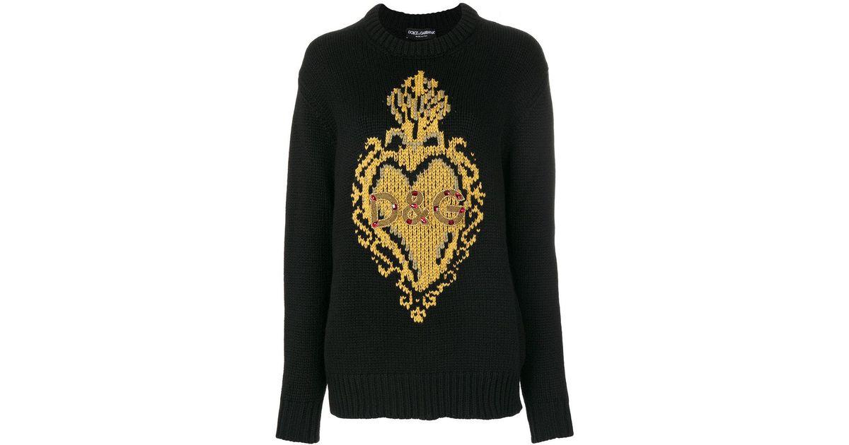 dc6ba257a0b7 Lyst - Dolce   Gabbana Knit Intarsia Heart Jumper in Black