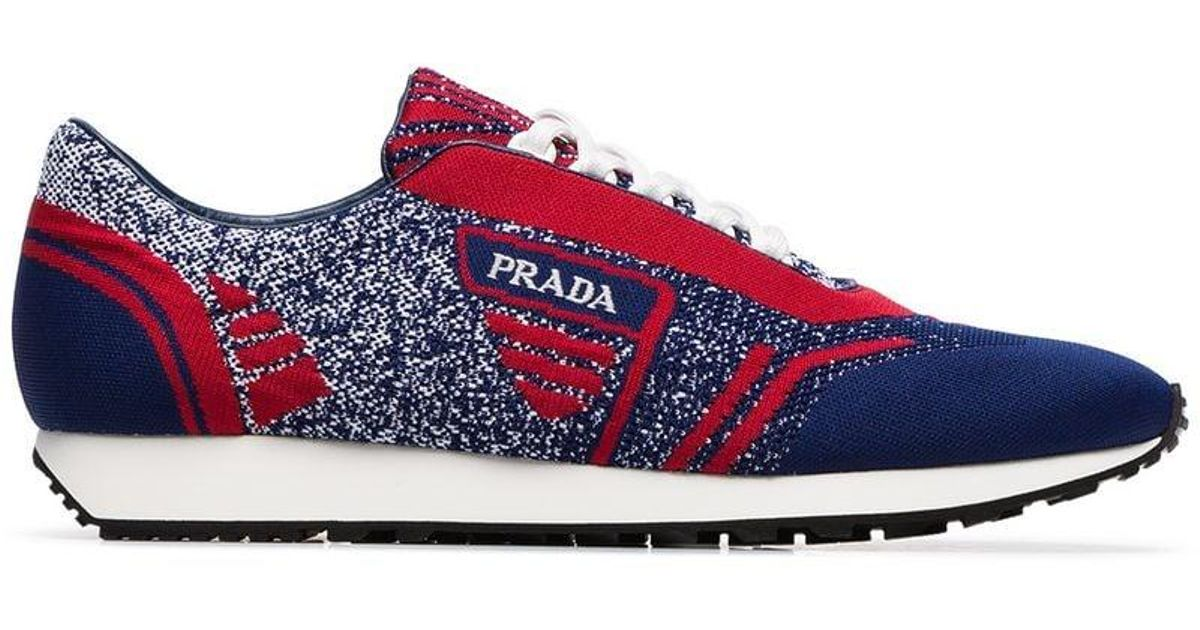 b0a32cb457d8 Lyst - Prada Blue And Red Milano 70 Knitted Low Top Sneakers in Blue for Men