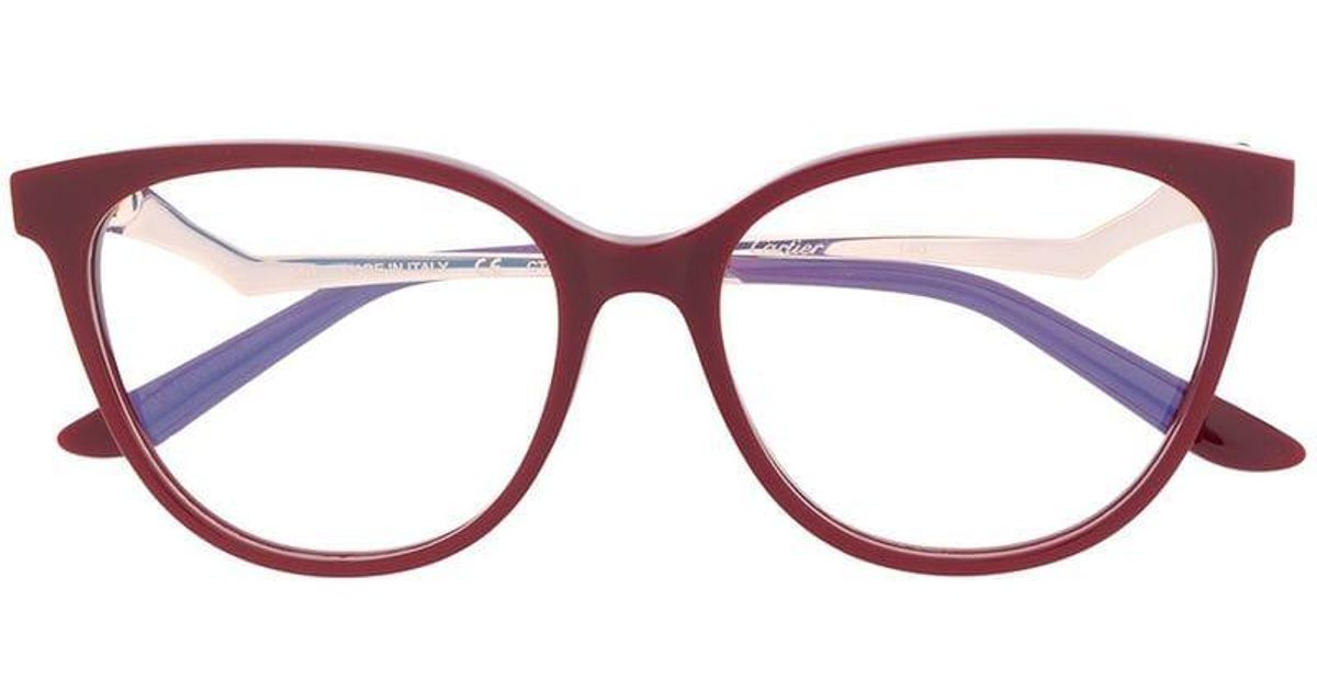 633d28fb2c Cartier Ct0119o Glasses in Red - Lyst