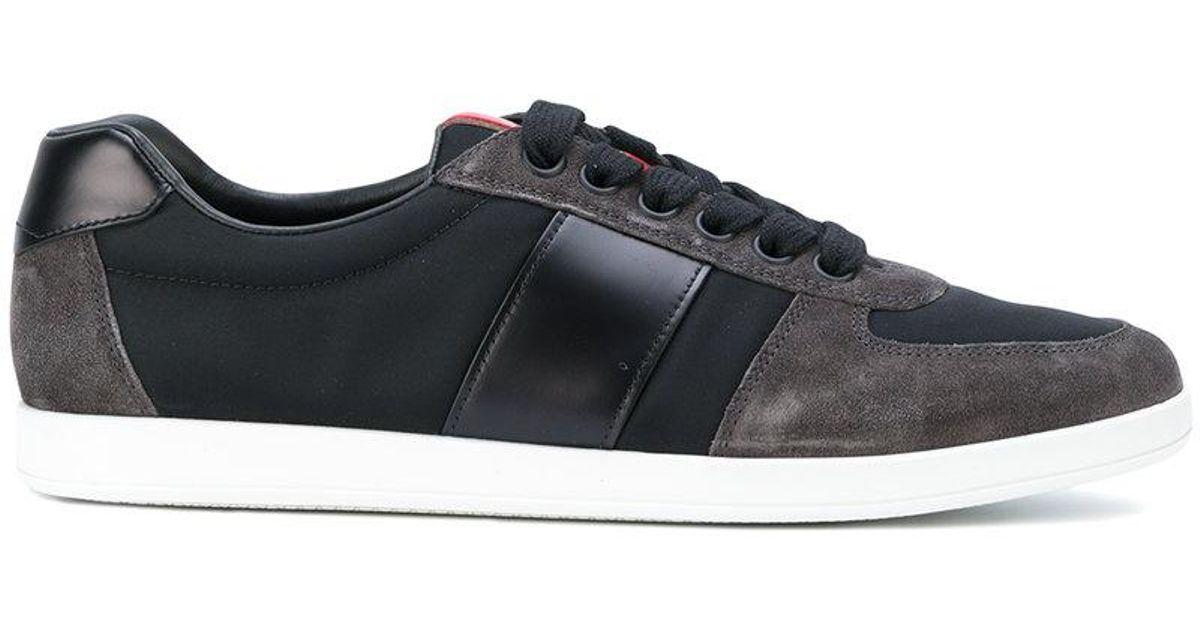 Chaussures De Sport Du Panneau De Contraste De Gris Prada - ojH0m2U6
