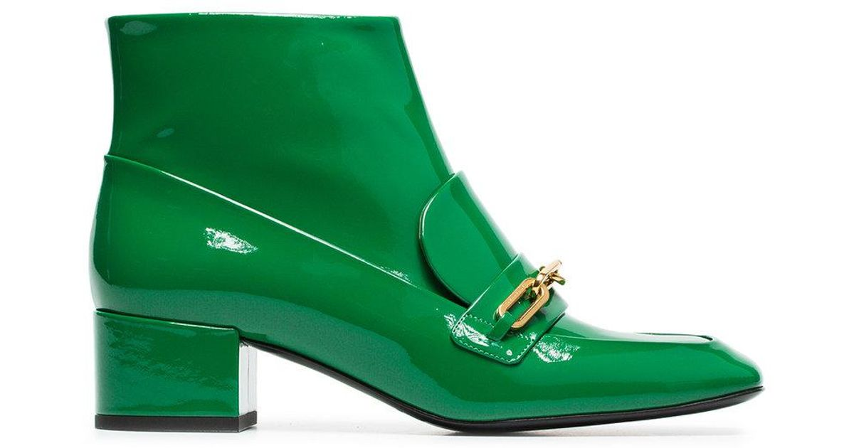 green link detail patent leather boots Burberry O0AB0