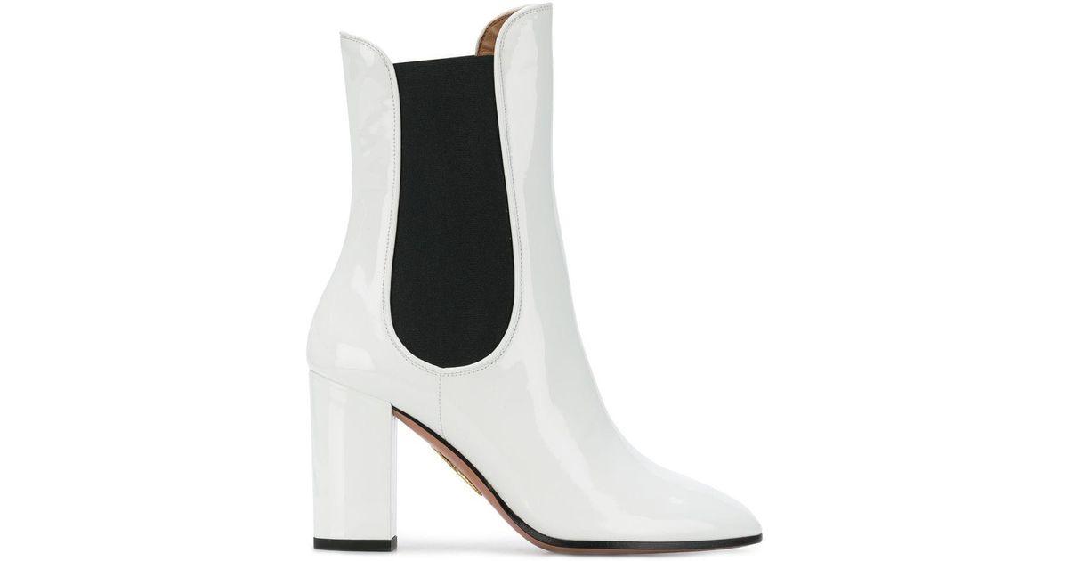 3615298cc0d Lyst - Aquazzura Mid-calf Block Heel Boots in White