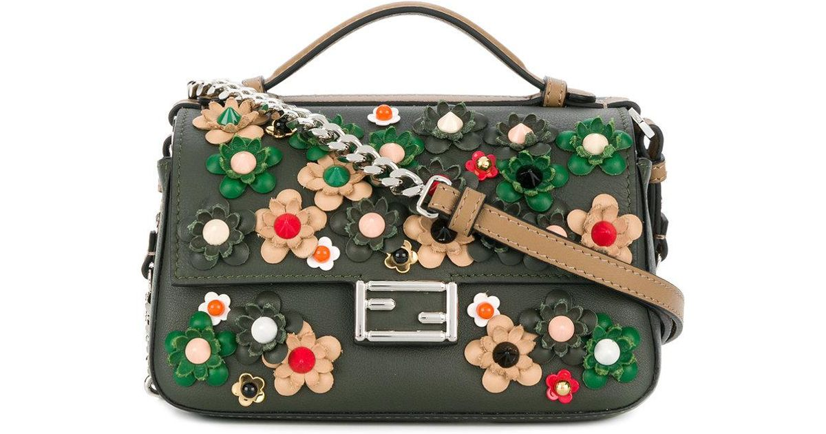 57fa03ab3c57 Lyst - Fendi Double Micro Baguette Crossbody Bag in Green