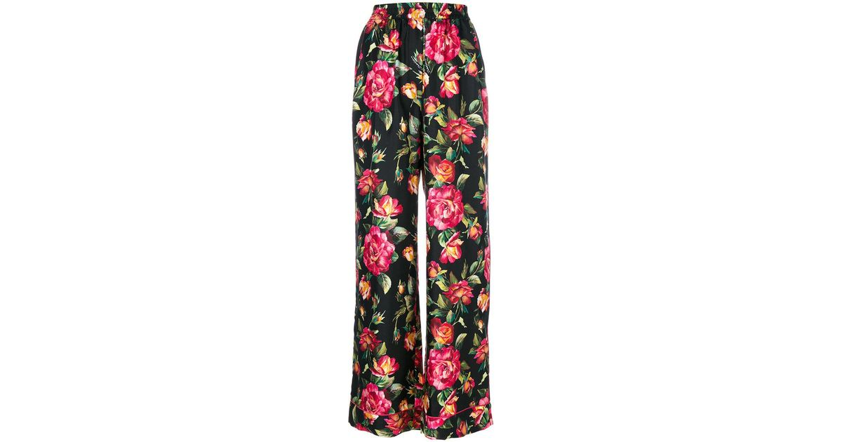 22e081e5c7 Lyst - Dolce   Gabbana Roses Print Silk Pajama Pants in Black