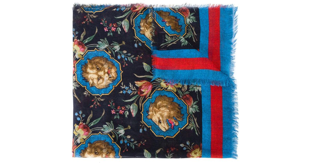 Lyst - Écharpe Lion Gucci en coloris Noir 0b8260e7dd6
