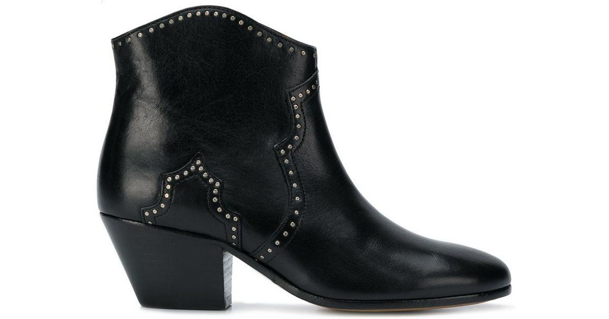 Lyst Bottines Dicker A Details De Clous Isabel Marant En Coloris Noir