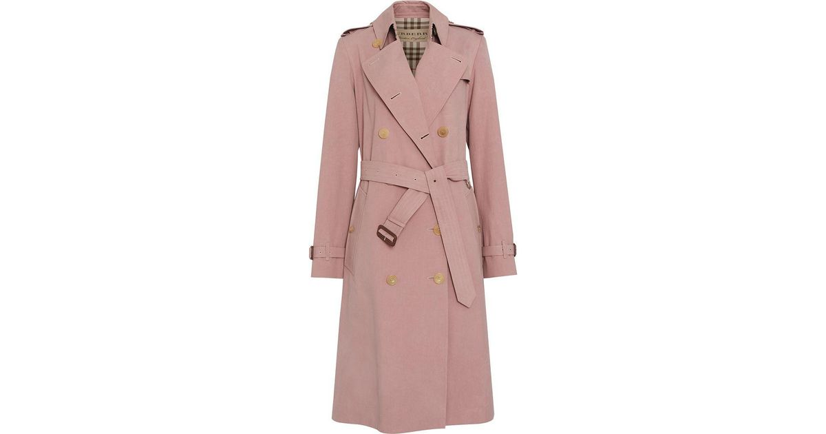 b05ce06f9f2831 Burberry Tropical Gabardine Trench Coat in Pink - Lyst
