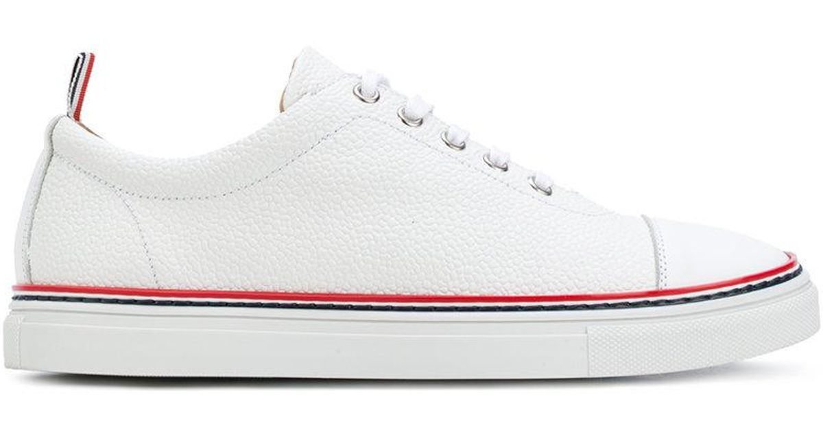 Straight Toe Cap Trainer In Pebble Grain - White Thom Browne 1DIEFB