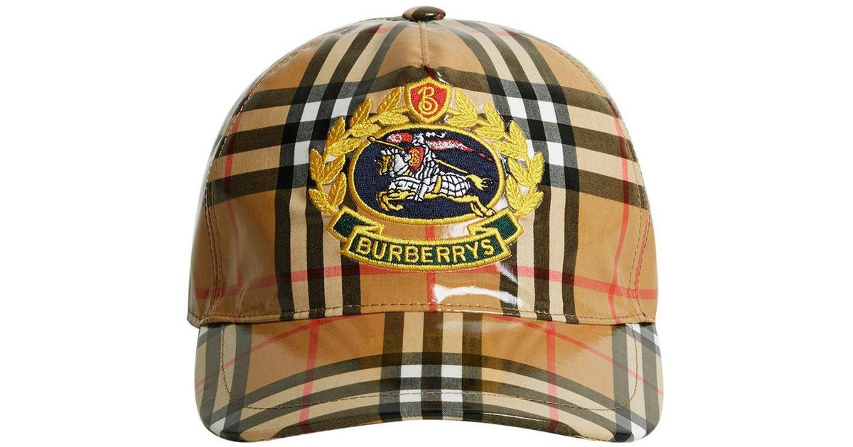 6b274b170d4 Lyst - Burberry Archive Logo Coated Vintage Check Baseball Cap in Brown for  Men