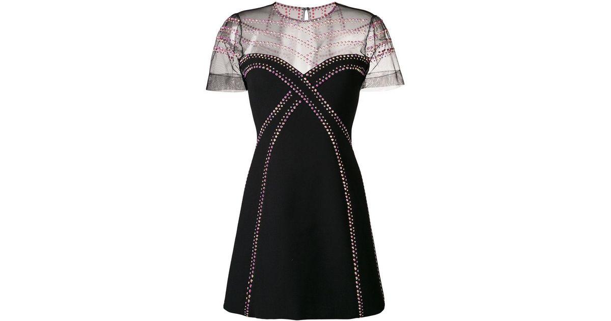 063e18cfccc Lyst - Versace Rhinestone-embellished Mini Dress in Black
