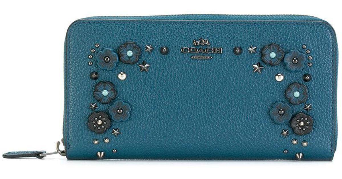 ae9a48dd6e aliexpress lyst coach floral studded purse in blue e1ccf c6af5