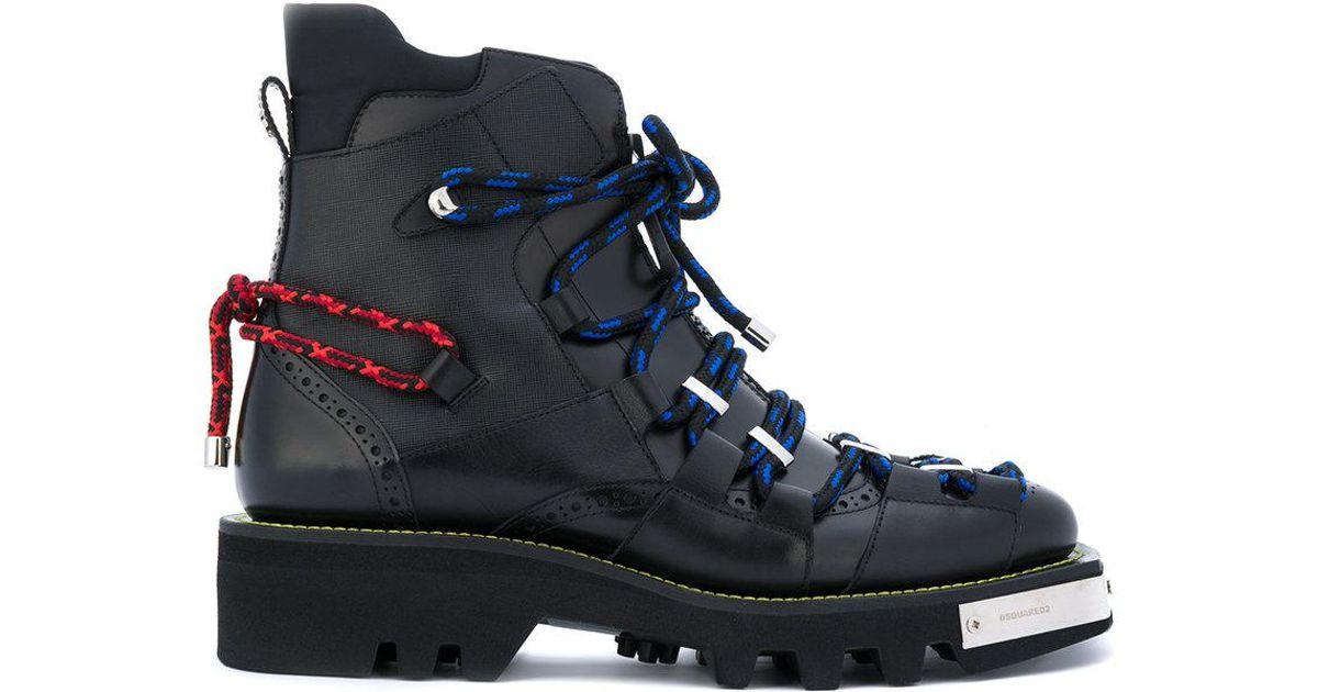 Dsquared 178 Trekking Combat Boots In Black For Men Lyst