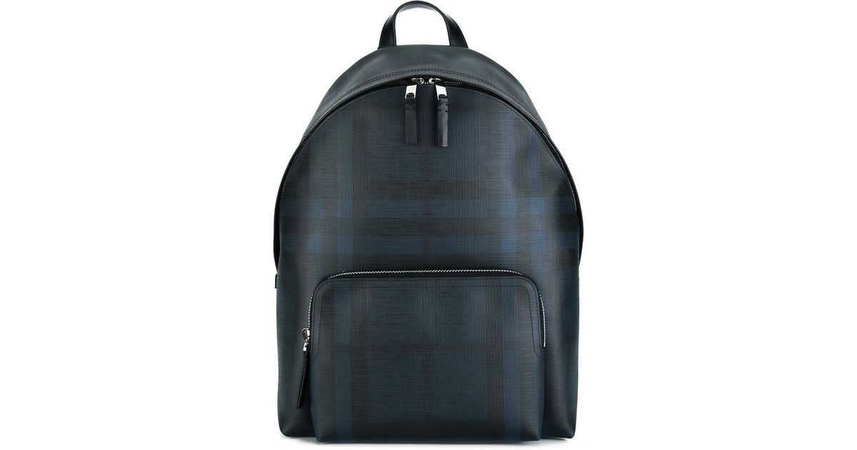 f7656958d687 Lyst - Burberry Checked Backpack in Blue for Men