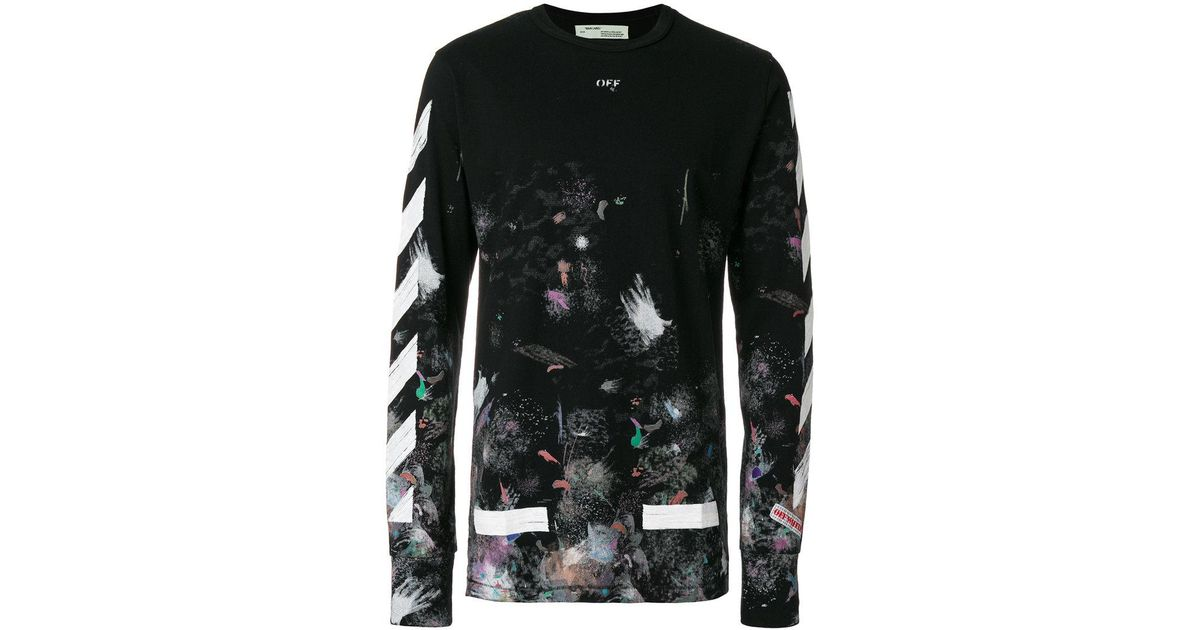 ef1611ecefb96f Lyst - Off-White c o Virgil Abloh Galaxy Brushed Long Sleeved T-shirt in  Black for Men