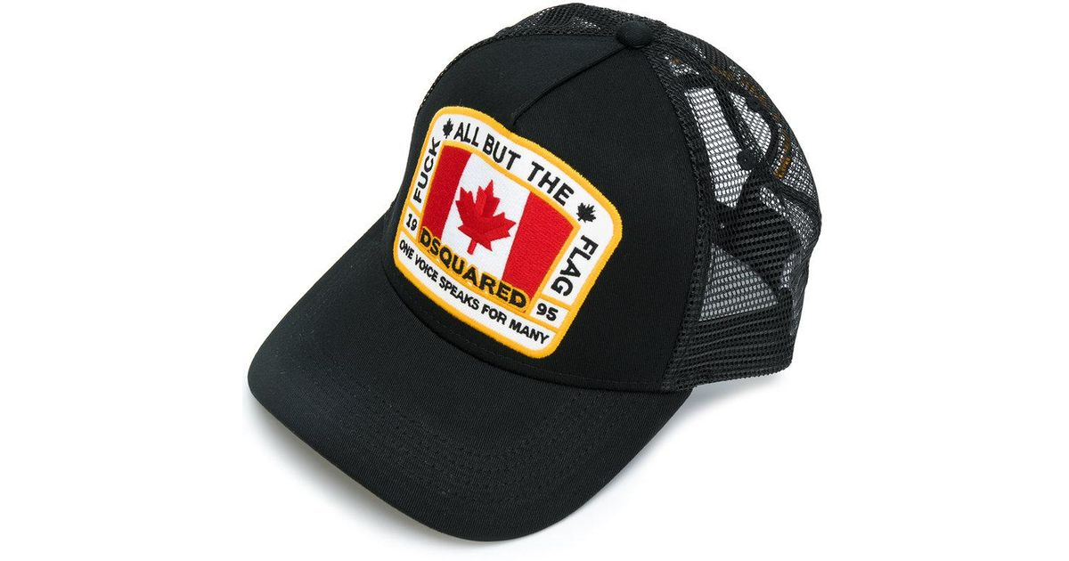 08196b7ac869a DSquared² Canadian Flag Baseball Cap in Black for Men - Lyst