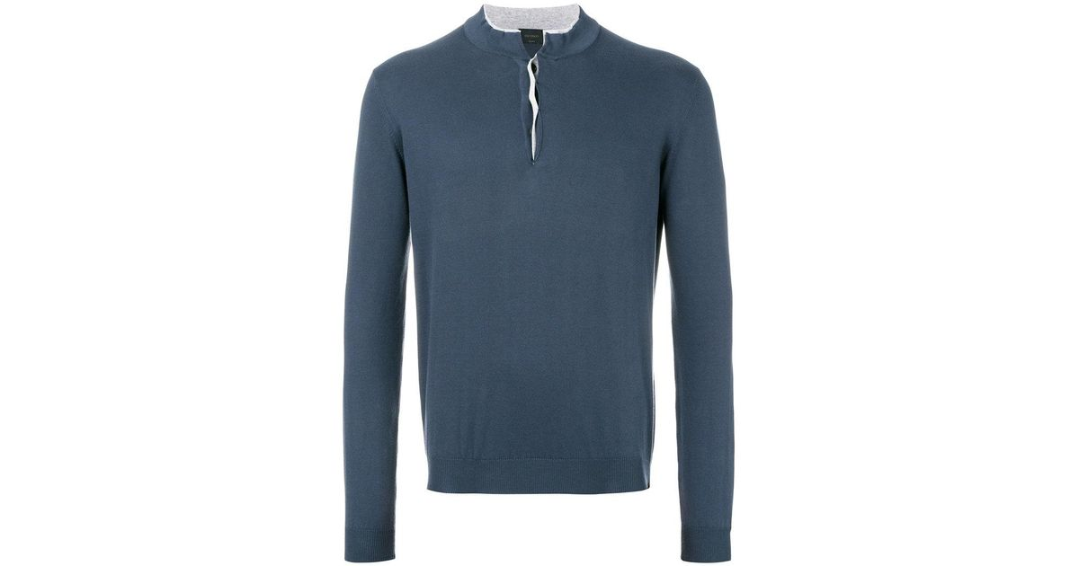 2018 Cool henley jumper - Blue Dell'Oglio Amazon Sale Online Cheap Best Top Quality Sale Online ORZNk8FE