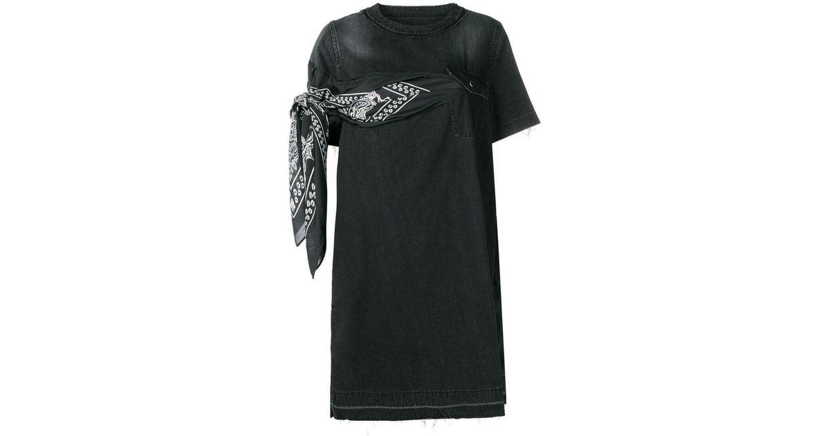 cdaa4a0e9c Lyst - Sacai Scarf Appliqué Denim Dress in Black