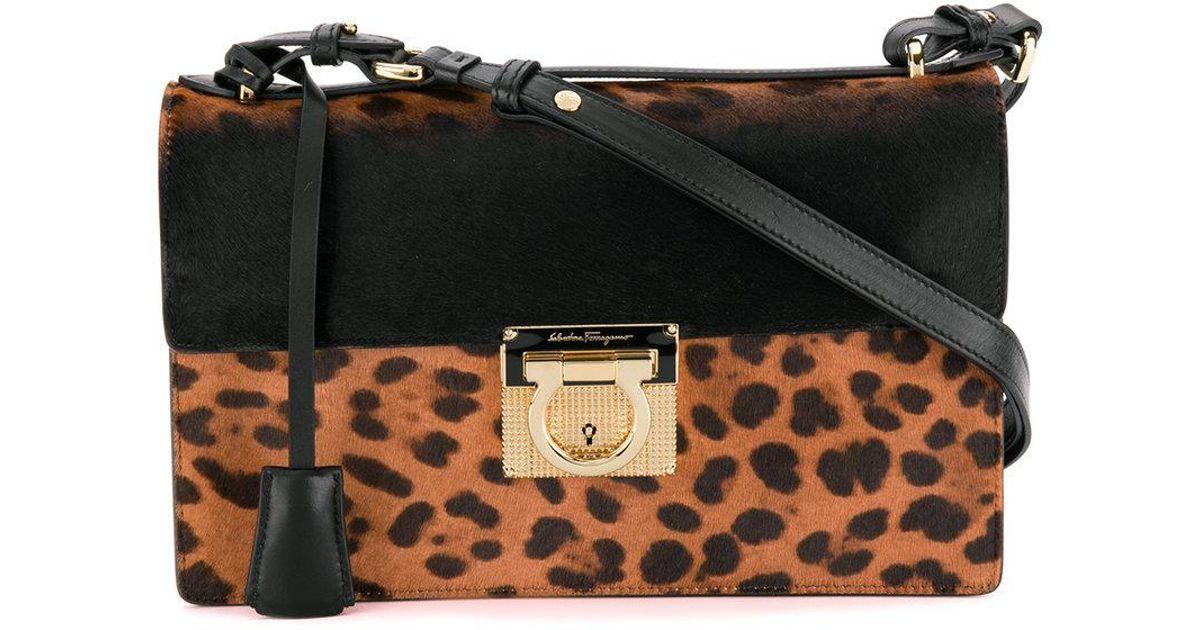 b0686b494601 Ferragamo Leopard Print Gancio Lock Shoulder Bag in Black - Lyst