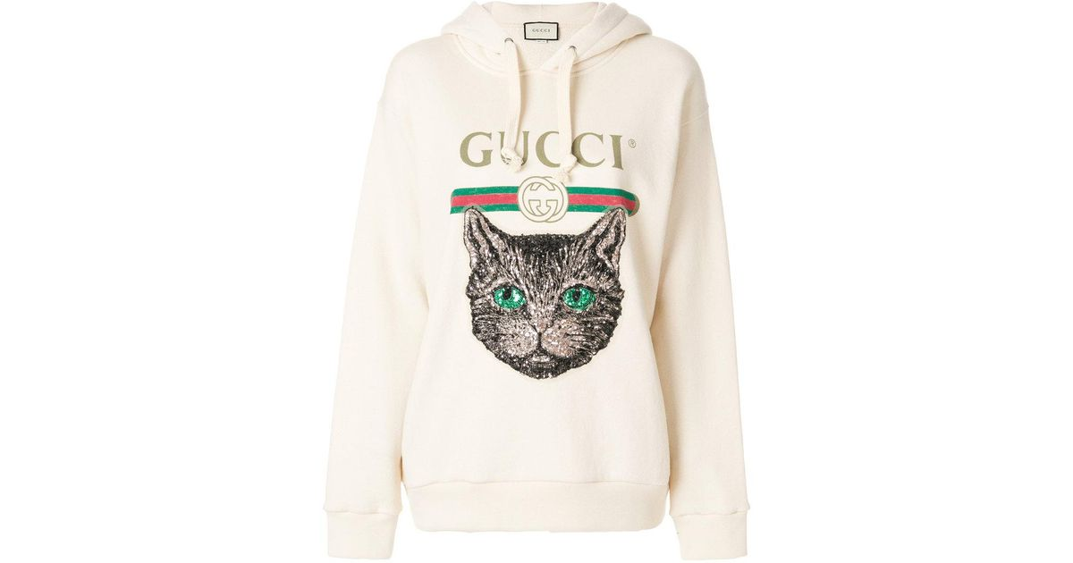 11f395bc760 Lyst - Gucci Mystic Cat Logo Hoodie in Natural