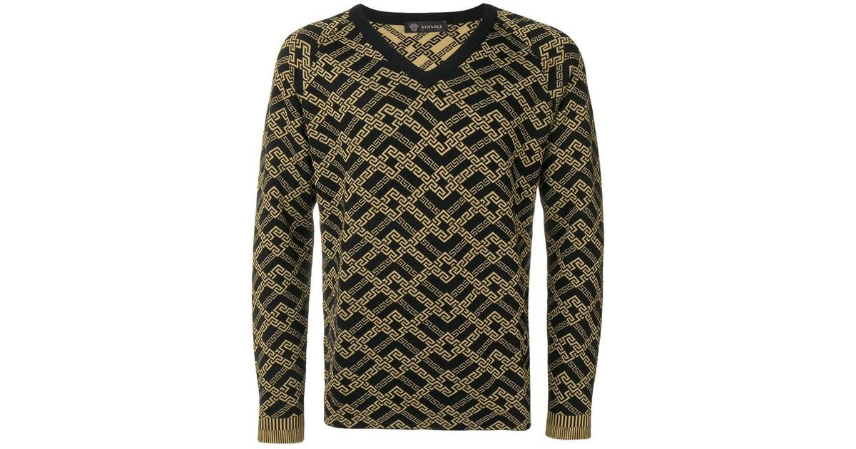 44db205952fd Lyst - Versace Printed Knit Sweater in Black for Men